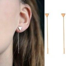 New fashion  Simple Punk Triangular Geometric Metal Chain Tassels Ear Jewelry Stud Earrings Vintage Long Chain Earring metal tassels simple triangular small earrings