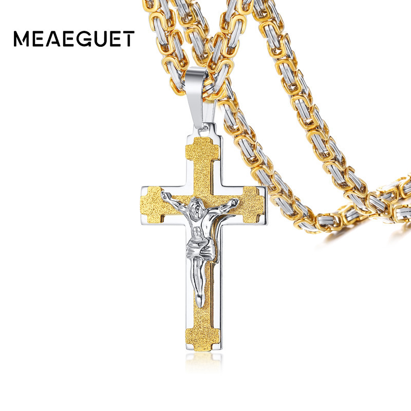 Beautiful Sterling Silver Antiqued INRI Block Cross w//Rays Crucifix Pendant