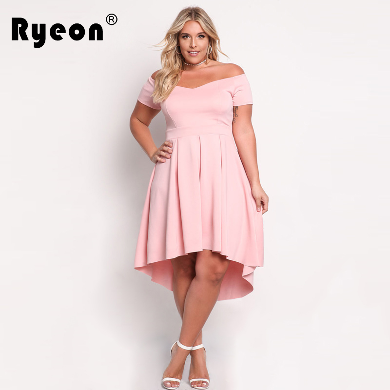 Ryeon Tunic Summer Autumn Women Sexy Dresses Big Sizes 2017 Pink Black Off  Off Shoulder Party 79e5122bbd72