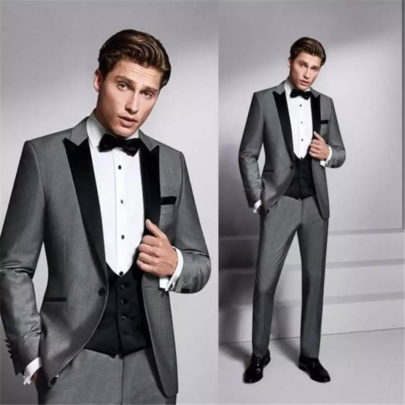 New Style Groomsmen Shawl Black Peak Groom Tuxedos One Button Men Suits Wedding Best Man Blazer ( Jacket+Pants+Vest+ Tie) Suit