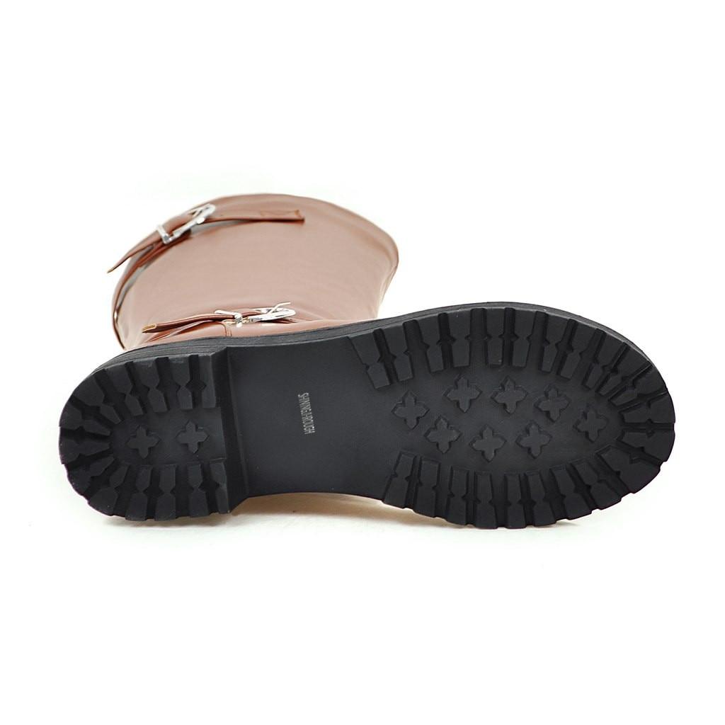 2018 marrón Sexy Largas Zapatos Negro Botas Otoño Tacón Moda Medio Calzado De Rodilla Mujer Invierno Hebilla ZOZwqrU