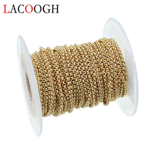 Lacoogh 10 Yard Rolo Chains Wide 2mm Gold Color Stainless Steel O-Shape Bulk Chain for DIY Big Chunky Necklace Jewelry Findings