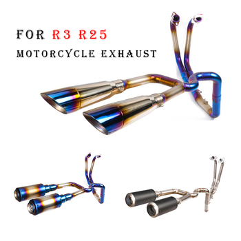 Slip on For Yamaha R25 R3 Full Motorcycle Exhaust System Double Muffler Modified With Front Middle Stainless Steel Link Pipe for bmw s1000rr 2010 2016 motorcycle full exhaust system stainless steel middle link tubes with exhaust muffler pipe