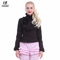 Rolecos-Lolita-Black-Long-Sleeve-Women-Blouses-OL-Bowknot-Slim-High-Collar-Tops-Shirts