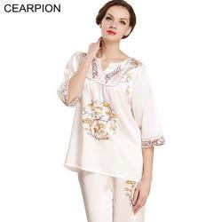 CEARPION элегантный для женщин 100% шелковые пижамы комплект Половина рукава китайский стиль вышивка 2 шт. рубашка и брюки Llady домашняя одежда