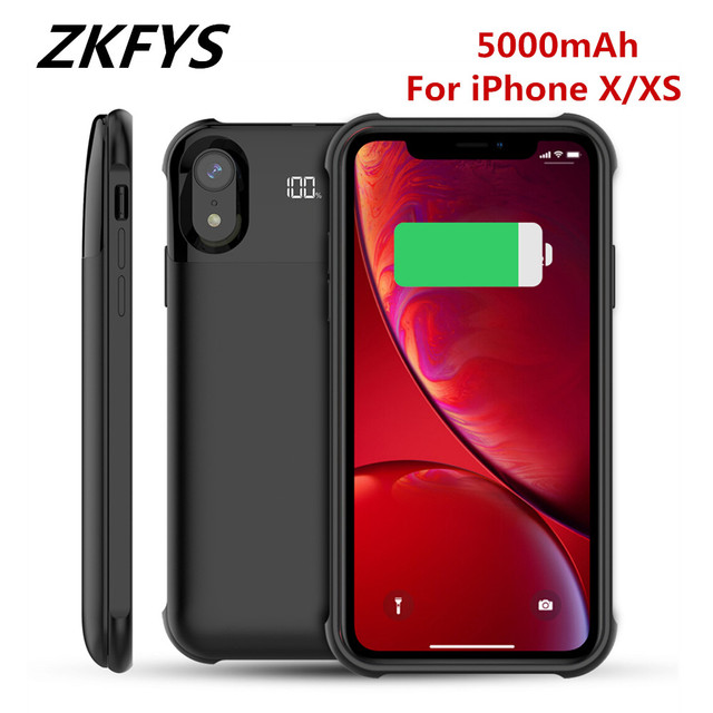 ZKFYS 5000mAh Wireless Charging Magnetic Battery Case For iPhone X XS Battery Charger Cases Backup Power Bank Charging Cover