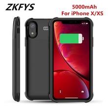 Zkfys 5000mah bateria magnética de carregamento sem fio caso para iphone x xs carregador de bateria casos backup power bank carregamento capa