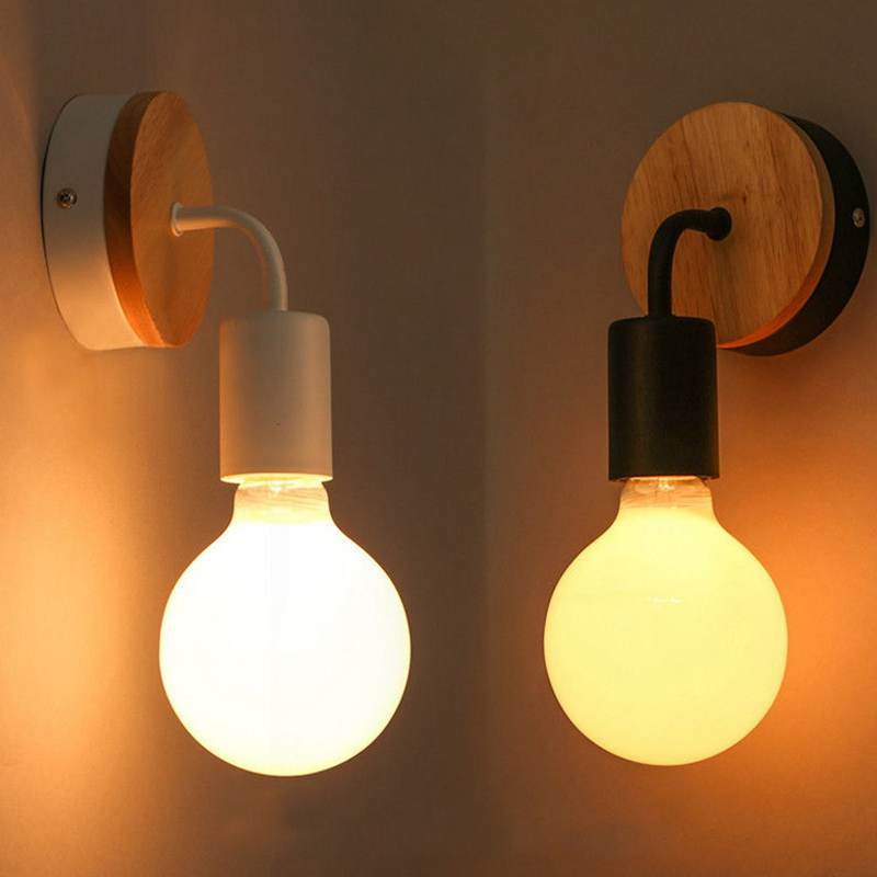 Black White Wall Light Wooden Base Modern Industrial Wall Lamp Bedroom Dining kitchen Sconces ...