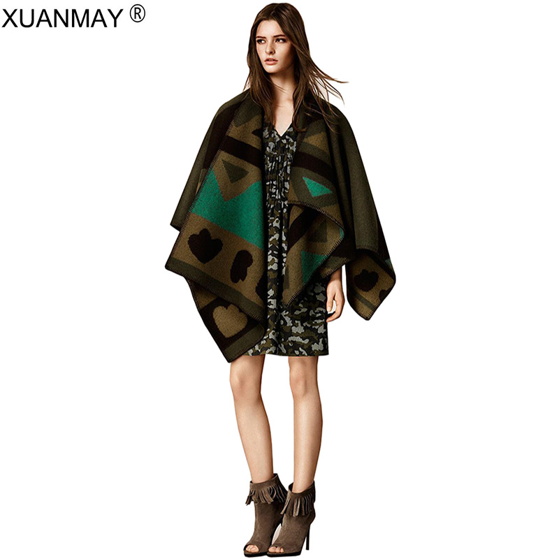Oversized Shawl Sweater Cardigan 2017 Olivia Palermo Runway Catwalk Knitted Cardigan Plaid Cape Poncho Women Sweater Shawl