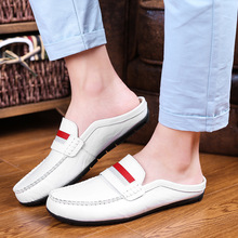 Summer slippers no heel half mens breathable leather shoes lazy peas