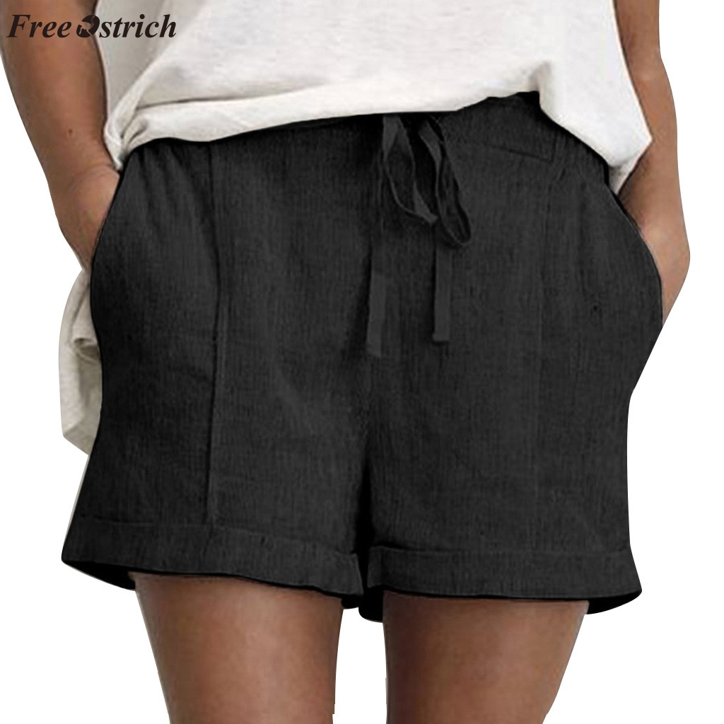 FREE OSTRICH Fashion vintage women's summer solid color simple trend   shorts   with cotton linen pocket comfortable casual   shorts