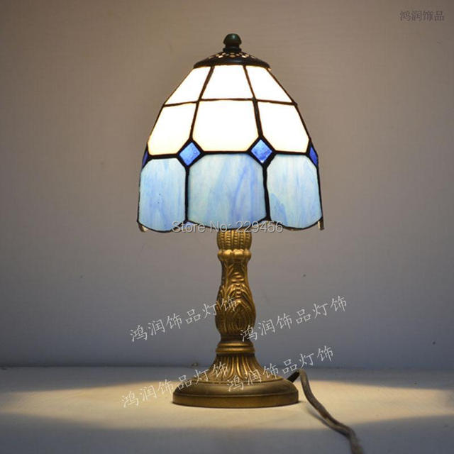 Bon Tiffany Small Table Lamp Stained Glass Mediterranean Sea Style Bedside Lamp  E27 110 240V