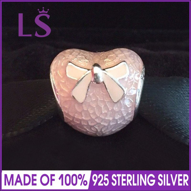 LS High Quality 925 Silver Pink Bow & Lace Heart Valentines Day Charm Fit Original Bracelets Pulseira Encantos.Fine Jewlery