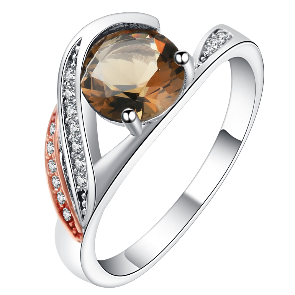 Ufooro Amazing Great Rhombus Champagne Color Crystal Glass Cz Band Wedding  Rings For Women Bague Alliance
