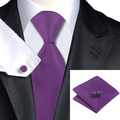 Mens Tie Purple Silk Necktie Hanky Cufflink Set The New Wedding Party Fashion Business Ties For Men C-860