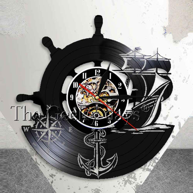 Anchor Ship Naval Comp Vintage Nautical Wall Decor Home Art Clock Sailors Vinyl Record