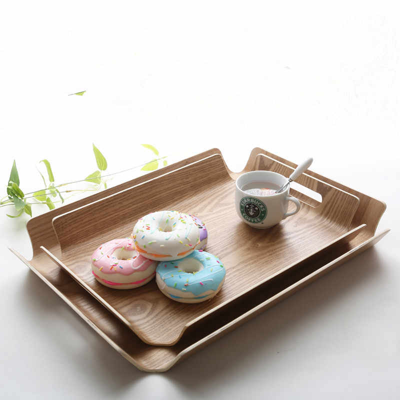 Oblong Ashtree Wooden Pallet Family Water Cup Tea Plate Baking Bread Cake Self-selection Plate Storage Serving Tray