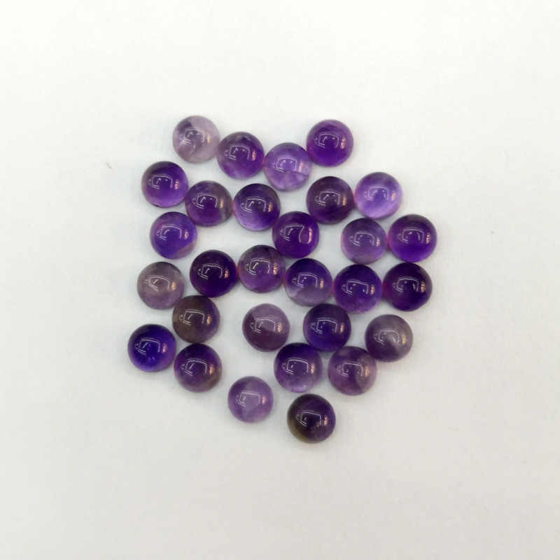 fashion Amethysts natural stone 4mm Single arc cabochon beads for jewelry making 50Pc/lot Ring accessories no hole