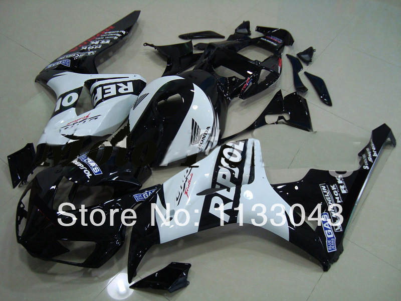 100%Fit injection REPSOL Fairings for HONDA CBR 1000RR 06 07 #S4T4 CBR1000 RR 2006 2007 CBR 1000 RR 06 07 White black fairing