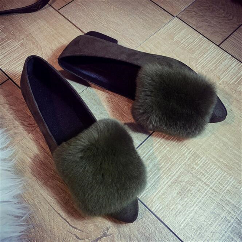 2017 Spring Autumn Women Pointed Toe Flats Faux Fur Women Casual Shoes Flock Leather Flat Shoes