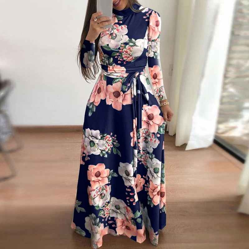30a8fb4680e ... LASPERAL 2019 Long Dress Floral Print Boho Beach Dress Tunic Maxi Dress  Women Evening Party Dress