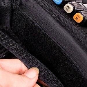 Image 5 - 60 entalhe que transportam o suporte da caixa do marcador organizador com zíper dos marcadores da lona para a pena de marcador da arte, caixa gêmea dos marcadores permanentes da ponta