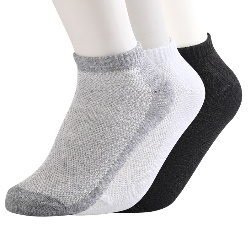 10 Pairs/lot Summer Men   Socks   Cotton Casual Antibacterial Breathable Mesh thin section solid color Men   socks   Male New Short   Sock