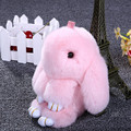 Hot Bunny Rabbit Plush Toys Super Cute Fluffy Rabbit Pendant Keychain Dolls Car Bag Decor Kids Friends Lovers Gift