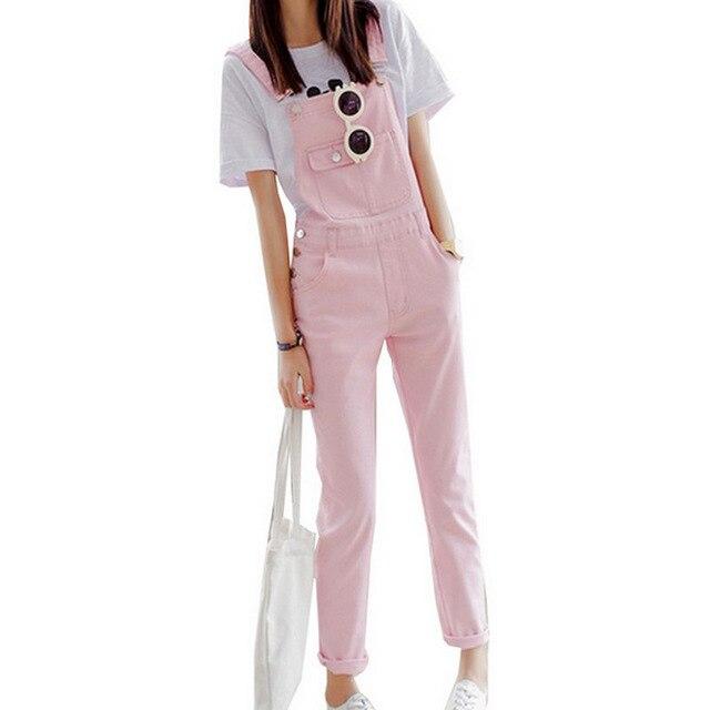 New Spring Summer Women Slim Strap Denim Rompers Casual Simple Brief Rompers Cool Black Pink Solid Jeans   Jumpsuit   Streetwear
