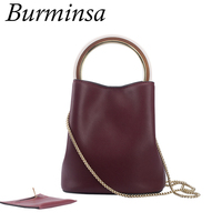 Burminsa Brand Round Handle Small Genuine Leather Bags Ladies Chain Bucket Designer Handbags Shoulder Crossbody Bags