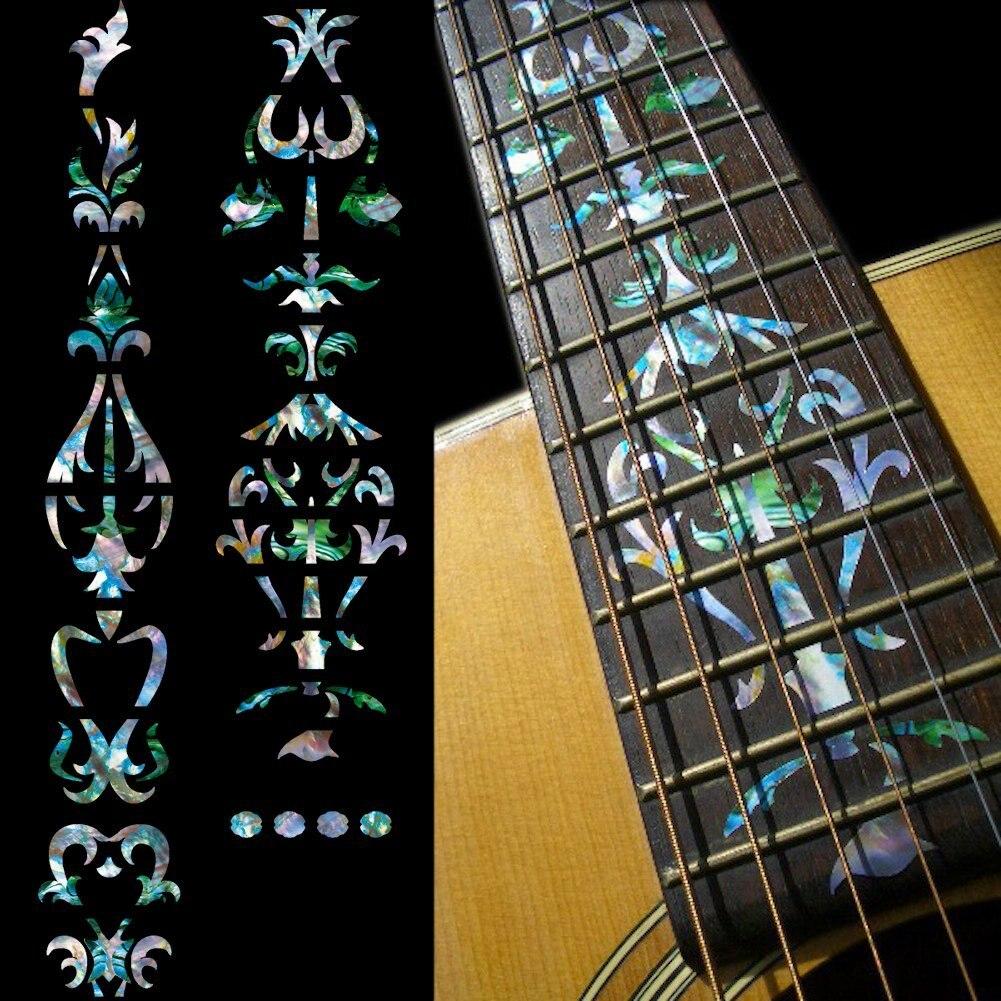 Marqueurs Fretboard autocollants incrustés pour guitare-vigne d'arbre-couleur mixte/blanc