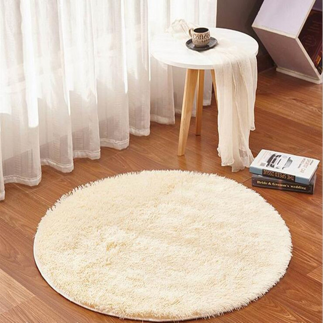Free Shipping 100CM 120CM 140CM 15 Colors Anti-skid Rug Winter Washable Cute Big Round Carpets For Living Room