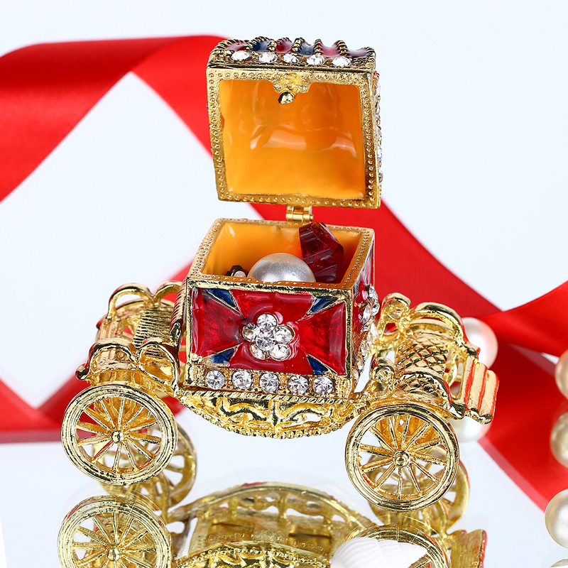 H&D Metal Crown Carriage With Crystal Women Trinket Box Ring