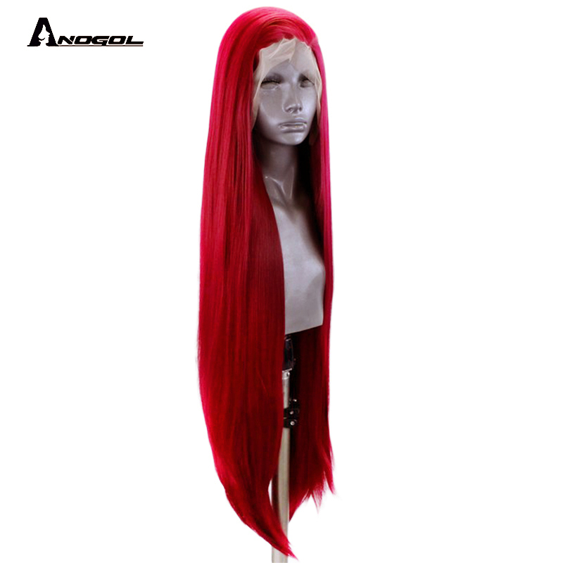 Anogol Red Velvet High Temperature Fiber Long Natural Straight Synthetic Lace Front Wigs for women High