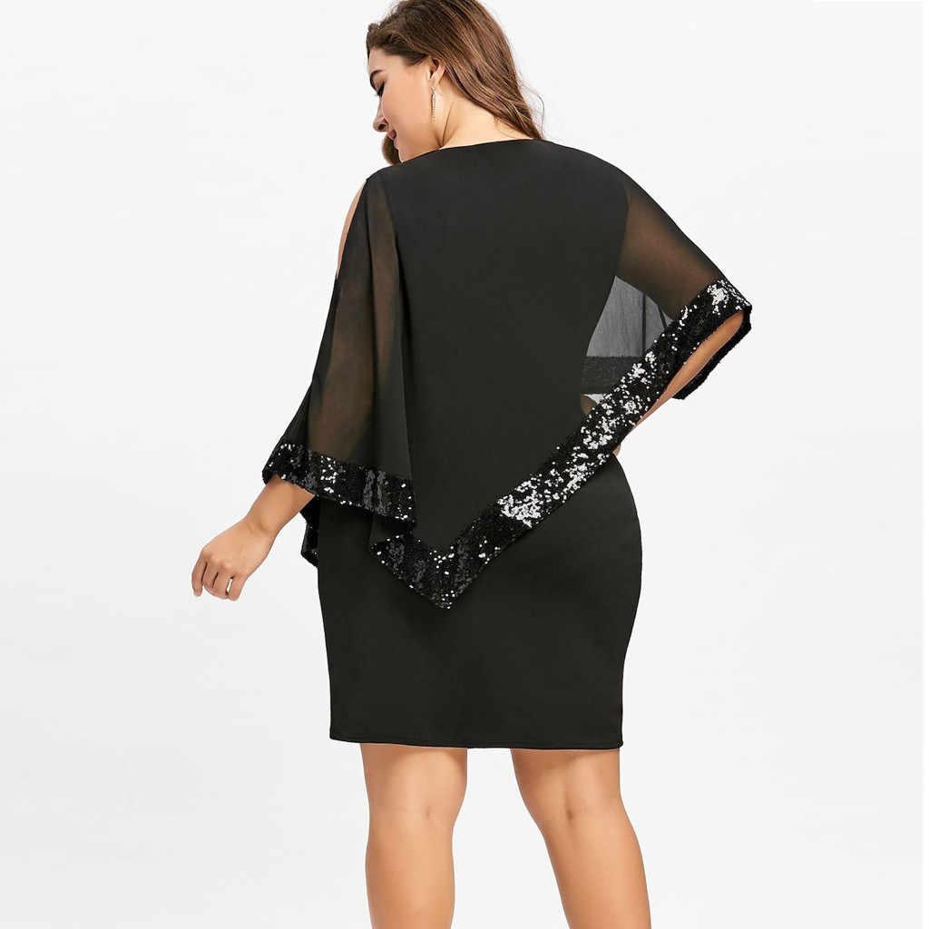 夏ドレス女性プラス 5XL 大サイズコールオーバーレイ非対称シフォンストラップスパンコールミニパーティードレスローブフェムセクシー