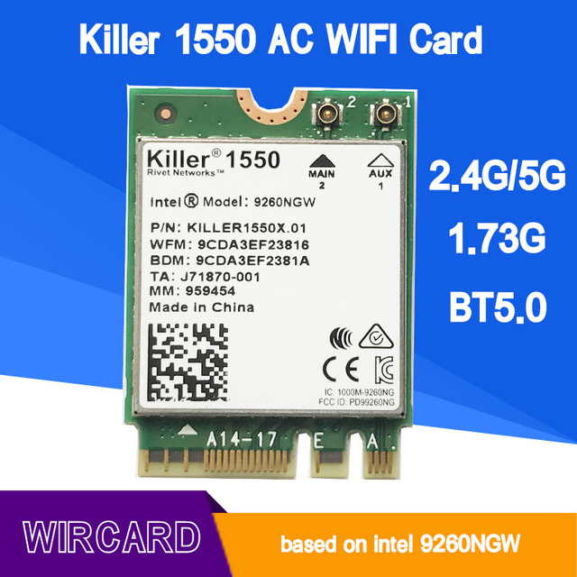 US $36 88 |Aliexpress com : Buy WIRCARD For Killer 1550 Intel 9260 9260NGW  NGFF 1730Mbps WiFi + Bluetooth 5 0 802 11ac Card Better than Killer 1535
