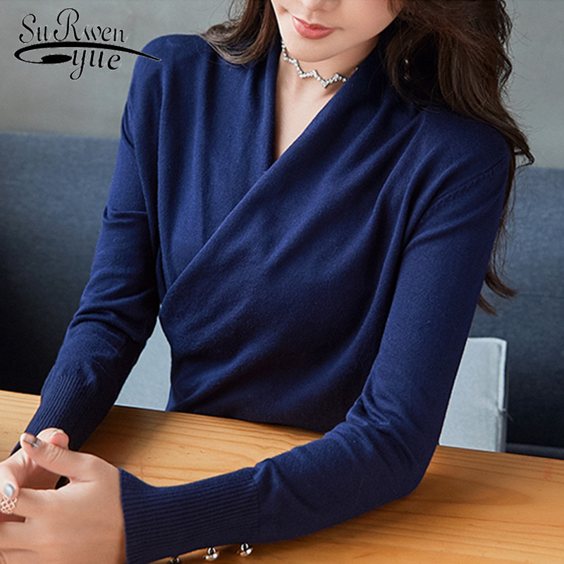 Sueter Mujer Invierno 2019 Autumn Long Sleeve Sweater Women Pullover Women Tops Solid Slim V-neck Knitted Women Sweater 5040 60