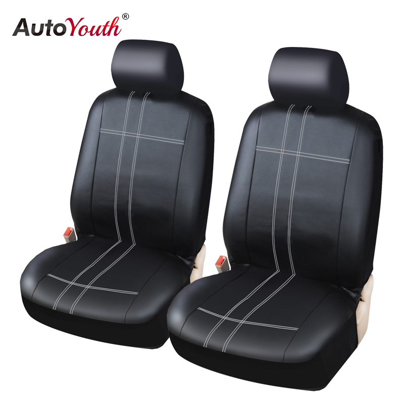 AUTOYOUTH Classic PU Leather Pair Set Car Seat Covers for Front Seat Cover Black Color - Fit Most Car, Truck, Suv, or Van