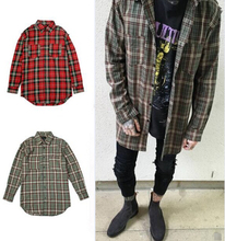 Streetwear punk tartan brand clothing men clothes korean extended green red checkered plaid shirt dress new