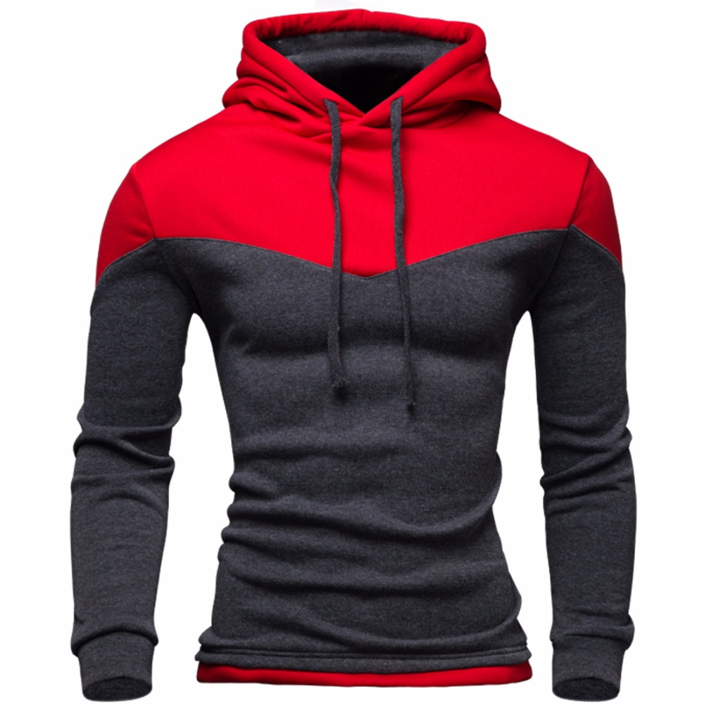 Nya Hoodies Men 2016 Winter Male Sweatshirt Tonårig Casual Cardigan Hoody Jacka Höstrock Smal Patchwork Färg