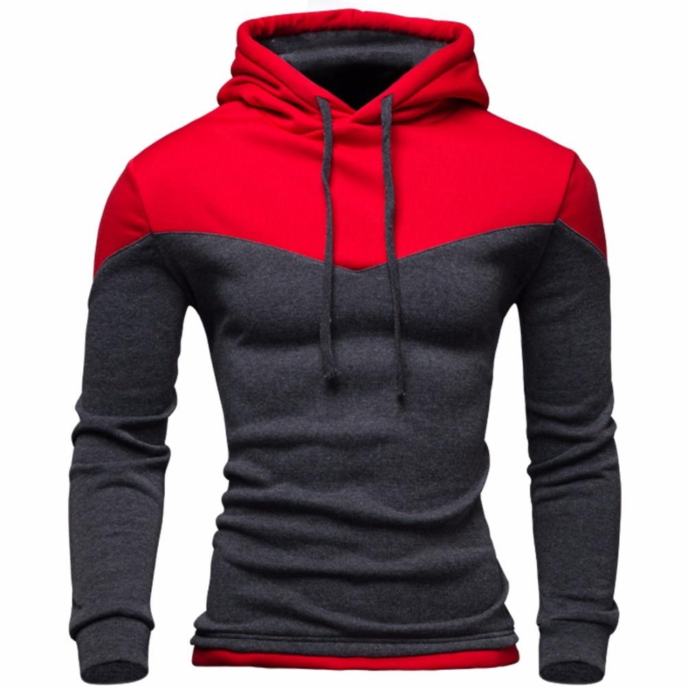 Nueva Sudaderas hombres 2016 invierno masculino sudadera adolescente casual cardigan con capucha chaqueta de abrigo de otoño del color del remiendo Delgado
