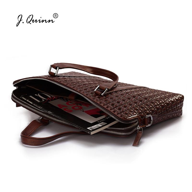 J.Quinn Men's Leather Briefcases Business Handbags Double Zipper Genuine Leather Mens Shoulder Bag Red Male Laptop Briefcase Men