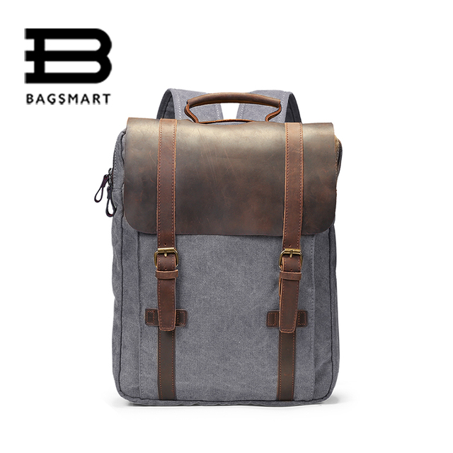 BAGSMART Brand Leather Canvas Backpack Men Computer Backpack Boy ...