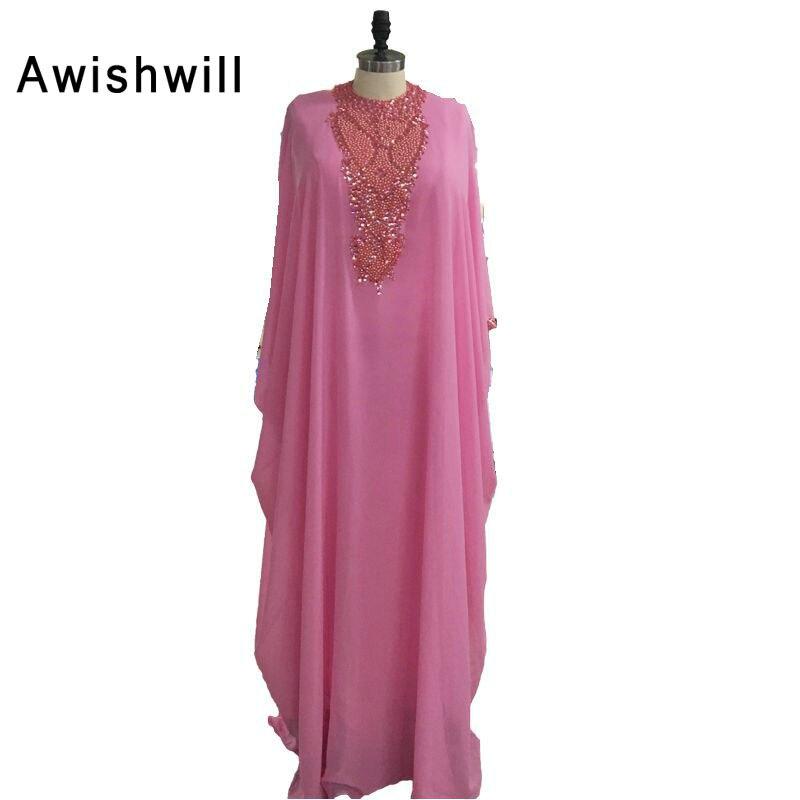 Nouveauté caftan marocain pour les femmes 2019 perles en mousseline de soie longueur de plancher rose robe de soirée Dubai arabe robes de soirée robes