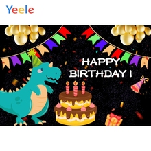 Yeele Cartoon Cake Dinosaur Photography Backgrounds Baby Birthday Party Custom Vinyl Photographic Backdrop For Photo Studio