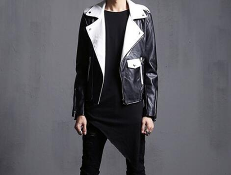 M-2XL HOT 2019 Spring Male New Slim personality Slim nightclub hip hop black and white splicing motorcycle PU coat