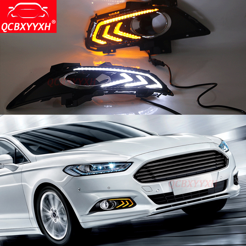 QCBXYYXH Auto With Turning Yellow Signal Relay Waterproof Car DRL 12V LED Daytime Running Light For Ford Mondeo Fusion 2013-2017 2015 new arrival 12v 12volt 40a auto automotive relay socket 40 amp relay