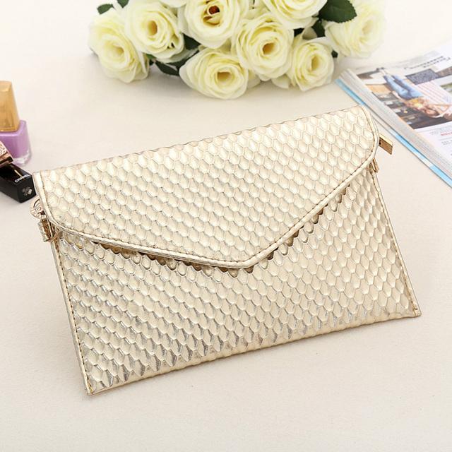 Envelope Day Clutch Women Leather Evening Tote Bags Handbag Change Purses Wallet Ladies Crossbody Messenger Shoulder Bag Golden