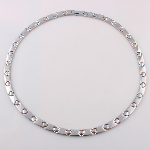 Silver energy long necklace Stainless steel heart link necklaces Germanium health necklaces for women and men jewelry