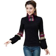 Качество мода Плюс Размер Вышивки Майка Одежда Camisetas Mujer Осень Женщины Футболки Blusas Feminina Старинные Тела Топы Tee(China (Mainland))